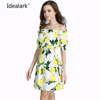 Wholesale Sexy Cotton Night Gown - Wholesale- New 2017 plus size cotton Autumn summer Women Dress short Sleeve Casual sexy wide boat neck Dresses Vestidos WC0584