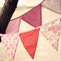 Vente en gros - Fabric Bunting Wedding Garden Party Vintage Pastel Floral Banner Drapeaux Baby Shower Decoration Shabby Chic
