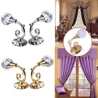 Wholesale Hanging Curtains Hooks - New 2pcs Large Metal Crystal Ball Curtain Hooks Tassel Wall Tie Back Hanger Holder Curtain Hanging Tools