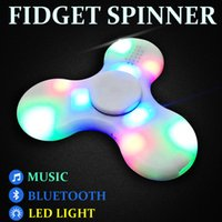 Wholesale Fingertips Music - 2017 LED Bluetooth Music Decompression Toy Hand Spinner Fingertips With Flash EDC Hand Spinner Plastic Fidgets Toys Free DHL LEDB02