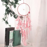 Wholesale Leather Flowers Craft - 2017 White Pink Flower Feathers Wind Chime Wedding Party Decoration Handmade Dreamcatcher Net Crafts Christmas Gift