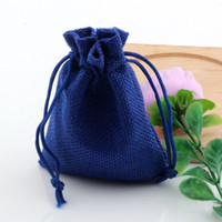Wholesale linen fabric wholesalers - Hot ! 50pcs Linen Fabric Drawstring bags Candy Jewelry Gift Pouches Burlap Gift Jute bags 7x9cm   10x14cm  13x18cm   15x20cm ( blue )