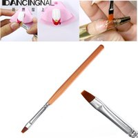 Wholesale Round Wooden Handle Brush - Wholesale- 1Pc UV Gel Nails Brushes Sable Hair Wooden Handle Round Nail Art Drawing Brush Flat Pen For Beauty Salon Manicure DIY Tool
