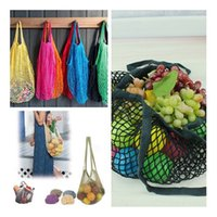 Wholesale Shopping Bags For Vegetable - Fashion Contrast Handbag Fruits & Vegetable Shopping String Cotton Net Mesh Bag For Sun Clothes Toys Basketball Storage Bags IC530