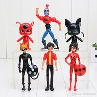 Wholesale Cute Anime Action Figure - 6pcs lot Miraculous Ladybug Comic Ladybug Girl Doll Action Figure Toys Cute Vinyl Anime Toys for Children Christmas Gifts