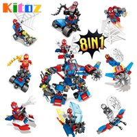 Wholesale Mini Building Vehicles - 2017 New 8-in-1 Armor Spider-Man Building Blocks Toys Spider Man with Web Chariot Vehicles Mini Action Figures Collections
