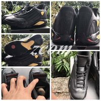 Wholesale Packaging Box Shoes - 2017 Retro 14 DMP Basketball Shoes Men 14s Black Gold Deigning Moments Package 98 Sports Sneakers With Shoes Box