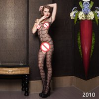 Wholesale Erotic Woman Clothes - Sexy Net Bodystocking Hot Women Sex Underwear Black Open Crotch Temptation Stockings Sexy Lingerie Body Suit Erotic Clothes