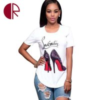 Wholesale T Shirts Wholesale Design Print - Wholesale- NEW Design 2016 Summer Fashion High-Heeled Shoes Print Women White T Shirts O-Neck Short Sleeve Irregular Casual T-Shirt Cotton