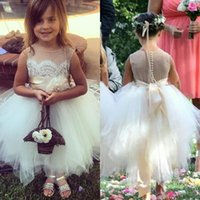 Wholesale Lace Wedding Gown Asymmetrical - Lovely 2016 flower girls dresses sheer neck lace button illusion back ribbon wedding party dress asymmetrical tulle ball gowns