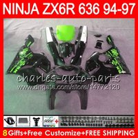 Wholesale 1995 Ninja Fairing Kit - 8Gifts 23Colors For KAWASAKI NINJA ZX636 ZX6R 94 95 96 97 ZX 636 ZX 6R 33NO52 600CC ZX-636 black green ZX-6R 1994 1995 1996 1997 Fairing kit