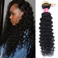 Wholesale virgin indian pcs - Wholesale 20-28inch 100g PCS 100% Brazilian Malaysian Indian Peruvian Virgin Human Hair Extension Deep Wave 4Bundle No Tangle