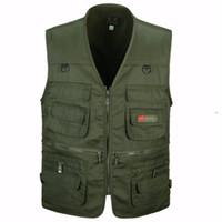 Wholesale Men Travel Vest - Wholesale- Men Vest Army Green waistcoat Multi-pocket travel or work wear Durable plus size