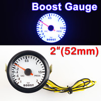 "Wholesale Press Boost - Wholesale- Car Gauge 2"" 52mm Bar Turbo Boost Gauge -1~2 Bar Vacuum Press Meter for Auto Blue Light Black Rim Shell 12V"