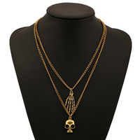 Wholesale White Skeleton Hand Necklace - 2017 new collar choker Collarbone chain Skeleton head hand necklace Gold plated Pendant Necklaces for Women statement Jewelry wholesale