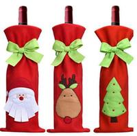 buenas herramientas al por mayor-2018 Botella de Vino Cubierta con Bowknot Tie Bags for Bottles Decoración de Navidad Regalo para Niños Merry Christmas Bar Tools Cerveza de Papá Noel Impreso