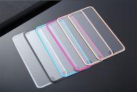 ingrosso disegni di vetro di carta-Protezione dello schermo in vetro temperato con design in lega di titanio con bordo curvo ultra sottile 3D per iphone7 / 7 / plus / 6 / 6plus / 5 / 5s pacchetto di carta