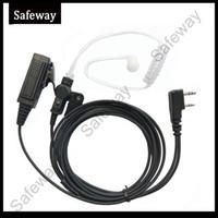 Wholesale Kenwood Tk - 2 wire two way radio Surveillance kit earpiece acoustic tube earphone mic headset for Kenwood for Baofeng TK-270G,TK-272, K-272G