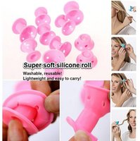 Barato Rolo De Cabelo Diy-Encrespadores de silicone 10Pcs / set Hairstyle Soft Hair Care DIY Peco Roll Hair Style Roller Curler Salon Soft Silicone Pink Color Hair Roller + gift