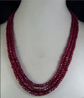 2017New 2x4mm NATURAL RUBY FACETED GRANOS COLLAR 3 STRAND