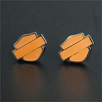 Wholesale Fashion Orange Earrings - 5pairs lot new arrival cool biker style earrings 316L stainless steel fashion jewelry unisex motorbiker orange black earrings
