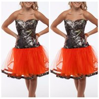 Wholesale Camo Mini Skirt - Brown Camo Short A-Line Bridesmaids Dress Orange Tulle Skirt With Bow Junior Vestidos De Honor Of Maid Bridesmaids Party Gowns Cheap
