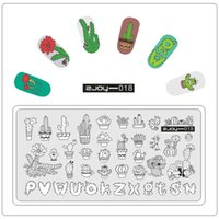 Wholesale nails stamping plates - New Nail Stamping Plates Cacti Fruit Geometry Cartoon Letter Rose Flower Nails Art Templates Manicure Gel Polish Stamping 2017