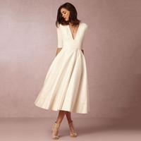Wholesale Long Mid Sleeve Summer Dresses - Women's Fashion Long Dress Lady Summer High Waist 1 2 Sleeve Sexy Deep V Neck Stitching Long Dress Vestidos