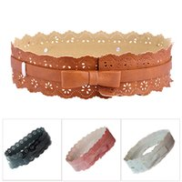 Wholesale Wide Brown Waist Belts - Wholesale- 2016 New Fashion Women belt Soft Leather Wide Hollow Flower Wrap Around Waist Band Wedding Dress Belt