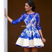 Wholesale Hot Seen Sexy - Hot Sale 2017 Sexy See Through Lace Above Knee Party Dress Royal Blue Short Lace Prom Dresses With Sleeves Junior Grade Homecoming Dress