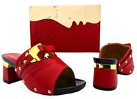 Wholesale Wedding 7cm Heels - Hot sale sequined and rivets decoration african red shoes match handbag set ladies pumps for dress BCH-26,heel 7CM