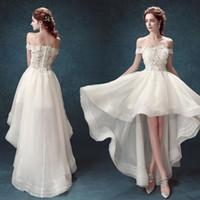 chiffon curto vestidos cauda venda por atacado-Francês lace off ombro alto baixa princesa vestido de noiva depois de um curto rabo elegante festa de jantar vestido de dança
