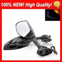 Wholesale Motorcycle Carbon Turn Signals - Universal Motorcycle LED Turn Signal Mirrors turn light Mirror Black Carbon LED turnning light For KAWASAKI ZX6R ZX636 ZX7R ZX9R ZX10R EX250