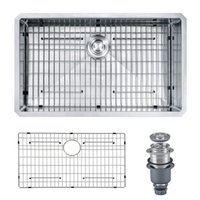 Wholesale From USA quot x18 quot x10 quot Handcrafted Ga Stainless Steel Undermount Single Bowl Modern Kitchen Sink for Home Improvement with Grid Drainer