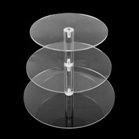 Wholesale Wedding Cupcake Pan - 3 Tier Circle Acrylic Cupcake Stands Crystal Clear Wedding Craft Assemble and Disassemble Round Acrylic Pan Wedding Decoration Birthday