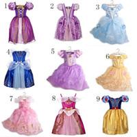 kızlar için sindirella tarzı elbiseler toptan satış-Bebek kız prenses TuTu dantel elbise çocuk kar Beyaz Rapunzel prenses elbiseler karikatür çocuklar Külkedisi elbise parti 9 stilleri için C2035