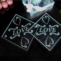 Europe Flower Design Glass Coasters Wedding Decoratons Letter Love Cup Pad Mat Return Gift Frete Grátis ZA3544