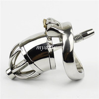 Wholesale Steel Cock Cage Urethral - NEW Stainless Steel Small Male Chastity Cage With Arc-Shaped Cock Ring Urethral Catheter Chastity Device For Men Penis Lock BDSM Sex Toys