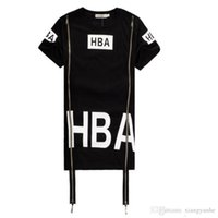 Wholesale Hba Hood Air Women - New Hip Hop Shirt Men Women Tshirts Streetwear Camisetas HBA Hood By Air Side Zipper T-Shirt HBA Clothes Been Trill Kanye Tyga Shirt