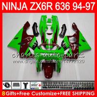 kit carenado kawasaki zx6r verde al por mayor-8Datos 23Colores Para KAWASAKI NINJA ZX6R 94 95 96 97 97 600CC ZX-6R 33NO63 ZX636 ZX verde rojo 636 ZX 6R ZX600 1994 1995 1996 1997 Kit de carenado