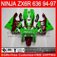 ingrosso rivestimento zx6r 95 rosso-8Gifts 23Colors Per KAWASAKI NINJA ZX6R 94 95 96 97 600CC ZX-6R 33NO63 ZX636 ZX verde rosso 636 ZX 6R ZX600 1994 1995 1996 1997 Kit carenatura