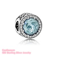 2017 Summer Radiant Hearts, Glacier-Blue Crystals Clair CZ 925-Sterling-Silver Charm Beads Fit Pandora Bracelet Jewelry Making