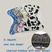 Wholesale Inner Gusset - mini size adjustable diaper cover for newborn baby, Reusable diapers pants with bamboo charcoal inner, pocket diaper with gusset