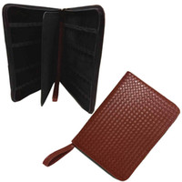 Wholesale Wholesale Leather Binders - Wholesale- 48 Pens Case Luxury Coffee knitting Leather Bag For Binder Stationery