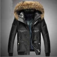 Wholesale Outerwear For Dogs - Brand New Men's Genuine Sheepskin Leather Down Jacket For Winter With Natural Raccoon Dog Fur Hood Black Short Leather Outerwear