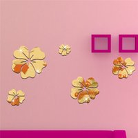 Wholesale mirror sticker flower designs resale online - 5 flowers set Decorative Wall Sticker Hot Mirror Style Flowers Removable Decal Vinyl Art Wall Sticker Home room Decor