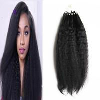 Wholesale Curly Micro Loop Hair Extensions - Brazilian yaki human hair Micro Loop Human Hair Extensions 100g kinky straight micro loop hair extensions