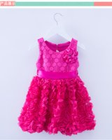 Wholesale Cute Round Collar Dress - 3 color new arrivals European and American style round collar sleeveless Lace flower dress cute children princess skirt