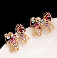 Wholesale Diamante Flower Earrings - Sweet Lovely Bow Crystal stud earrings Colorful Crystal Gold Bowknot Bow Chic Ear Stud Charm Earrings Women Fashion Jewelry diamante Earing