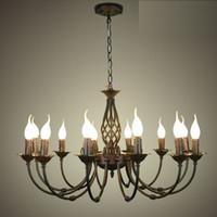 Wholesale Iron European Chandeliers - European chandeliers wrought iron complex classical bedroom lighting fixture lamp minimalist 110-240V Black   white   Bronze